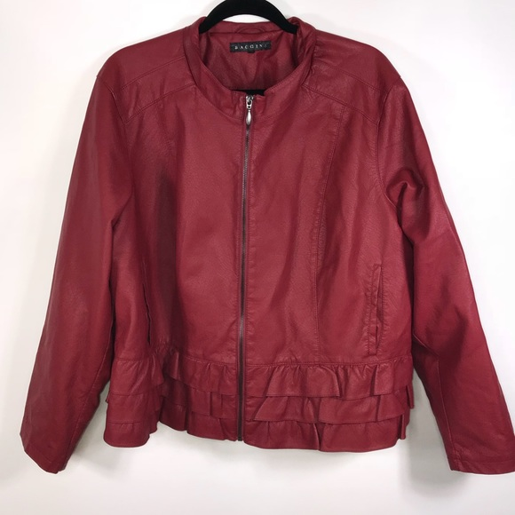 10ca8463b Baccini Red Faux Leather zip up Jacket